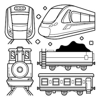 Coleção de doodle de trem