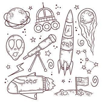 Coleção de doodle do espaço sideral