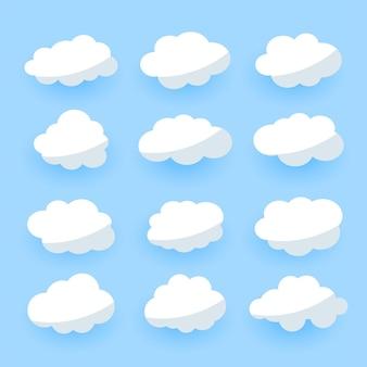 Coleção de doze nuvens de desenhos animados