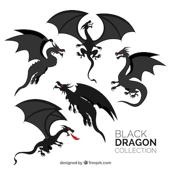 Coleção de dragões na cor preta