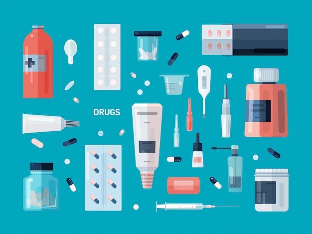 Coleção de drogas, pílulas, medicamentos, xaropes, misturas, gotas nasais, spray para tosse, ferramentas médicas isoladas sobre fundo azul. conteúdo do kit de primeiros socorros.