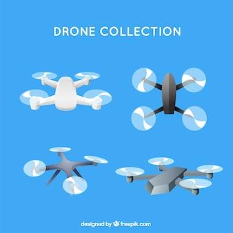 Coleção de drone com design plano