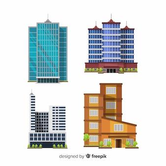 Coleção de edifício de escritórios moderno com design plano