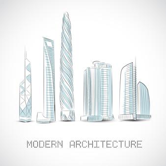 Coleção de edifícios de arranha-céus modernos