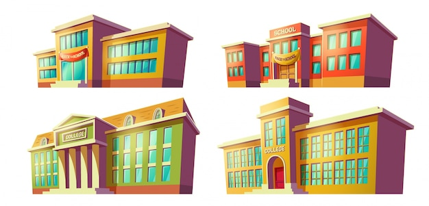 Coleção de edifícios escolares
