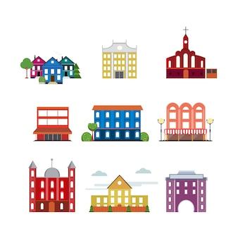 Coleção de edifícios urbanos da cidade