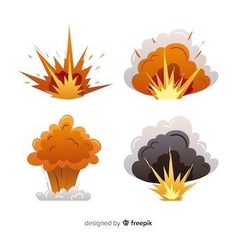 Coleção de efeito de explosão de mão desenhada dos desenhos animados