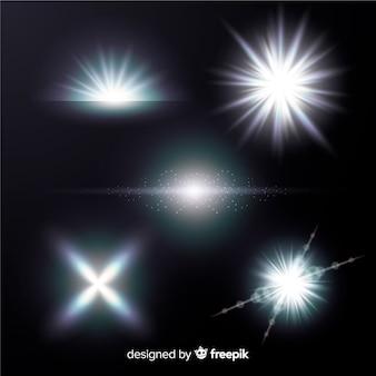 Coleção de efeito de luz branca brilhante