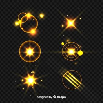 Coleção de efeito de luz brilho dourado