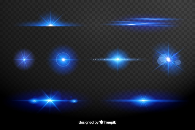 Coleção de efeito de luzes azuis