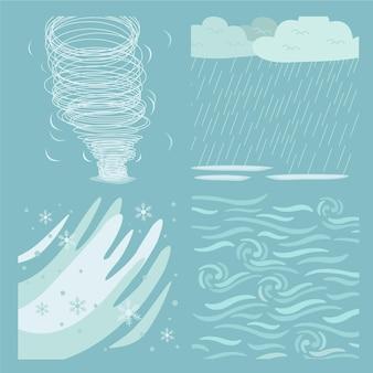 Coleção de efeitos climáticos de design plano