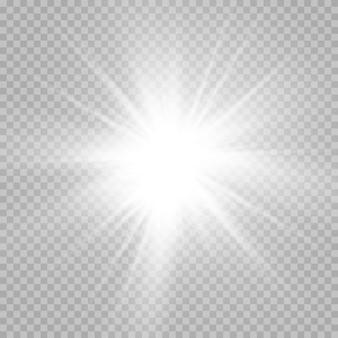 Coleção de efeitos de luz branca brilhante isolada