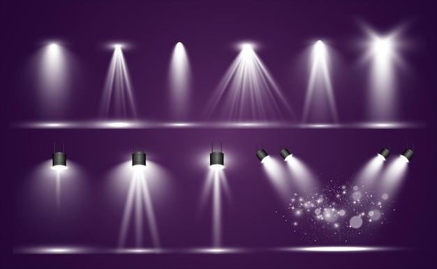 Coleção de efeitos transparentes de passarela ou plataforma de iluminação de palco. iluminação brilhante