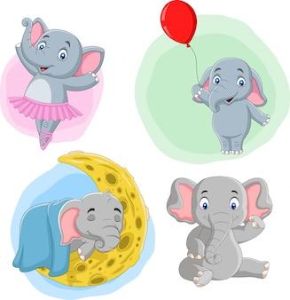 Coleção de elefantes dos desenhos animados com ações diferentes