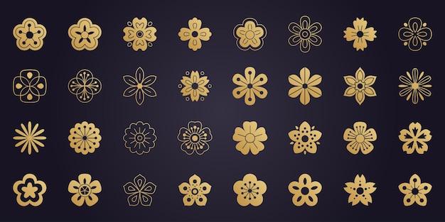 Coleção de elegantes flores de sakura douradas