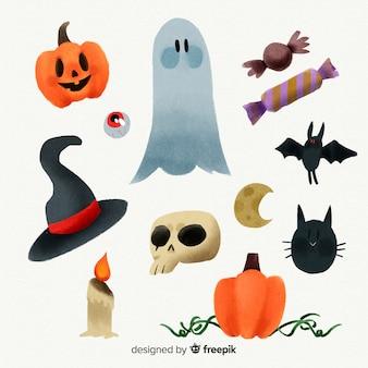 Coleção de elemento assustador de halloween em aquarela