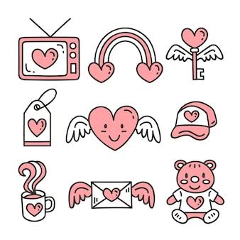 Coleção de elemento branco e rosa dos namorados