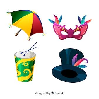 Coleção de elemento de carnaval plana