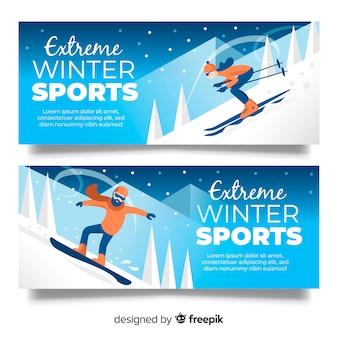 Coleção de elemento de esporte de inverno colorido