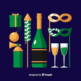 Coleção de elemento de festa de ano novo em design plano