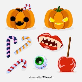 Coleção de elemento de halloween clássico com design plano