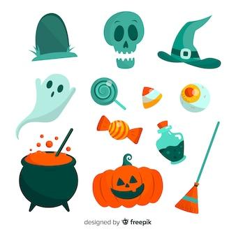 Coleção de elemento de halloween design plano