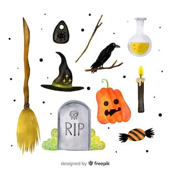 Coleção de elemento de halloween em aquarela