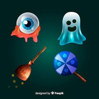 Coleção de elemento de halloween realista dos desenhos animados