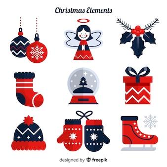 Coleção de elemento de Natal clássico com design plano