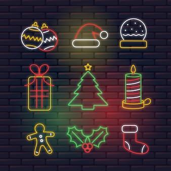 Coleção de elemento de natal de néon