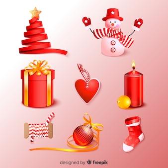 Coleção de elemento de natal realista vermelho