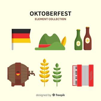 Coleção de elemento de oktoberfest clássico com design plano