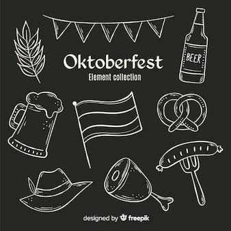 Coleção de elemento de oktoberfest de quadro-negro