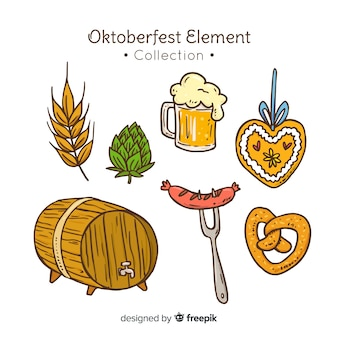 Coleção de elemento de oktoberfest desenhada mão clássico