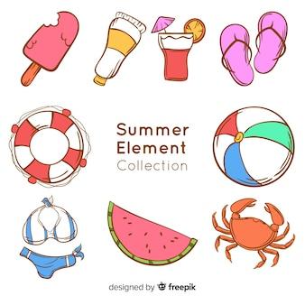 Coleção de elemento de verão desenhada de mão