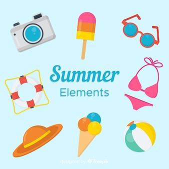 Coleção de elemento de verão plana Vetor grátis