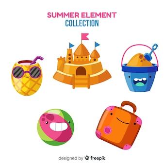 Coleção de elemento de verão plana