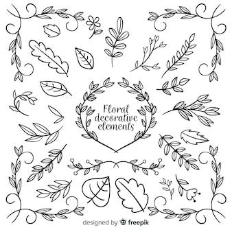 Coleção de elemento decorativo floral mão desenhada