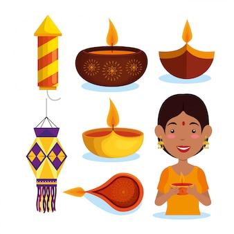 Coleção de elemento feliz diwali