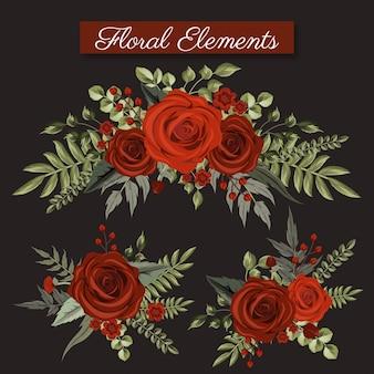 Coleção de elemento floral de rosas vermelhas