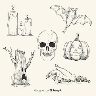 Coleção de elemento halloween realista mão desenhada