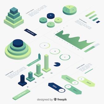 Coleção de elemento infográfico gradiente isométrica