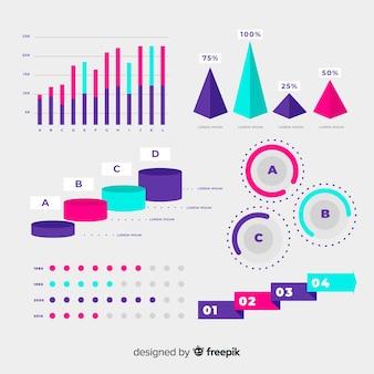 Coleção de elemento infográfico gradiente plana