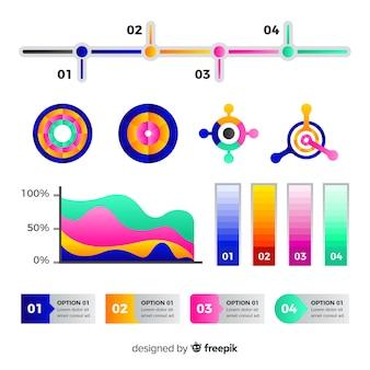 Coleção de elemento infográfico gradiente