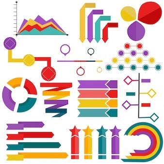Coleção de elemento infográfico, gráfico e gráfico de torta.