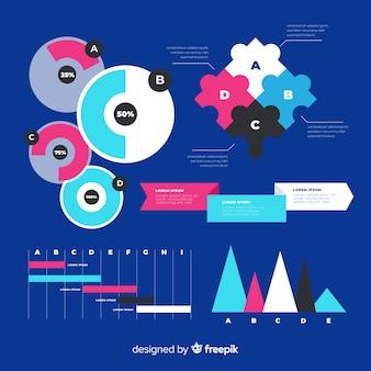 Coleção de elemento infográfico plana