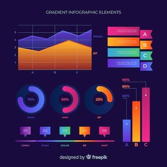Coleção de elemento infográfico plano gradiente