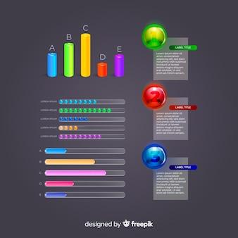 Coleção de elemento infográfico plástico brilhante realista