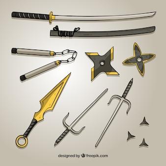 Coleção de elemento ninja mão desenhada
