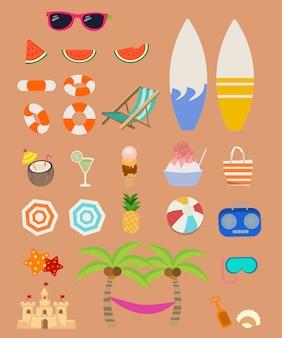 Coleção de elemento para pacote de conjunto de verão. um grupo de conjunto de verão.